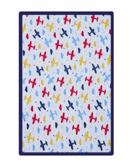 Airplane Printed Baby Blanket Navy