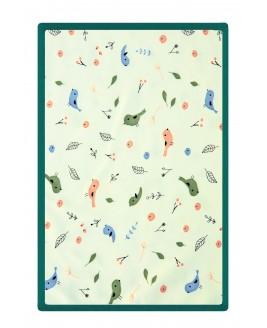 Bird Pattern Baby Blanket Green