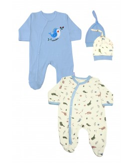 2-Piece Tulum Baby Blue with Bird