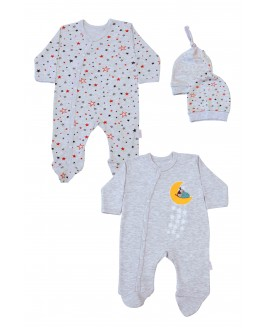 Star Printed 2 Pieces Overalls Gray