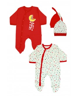 Star Printed 2 Pieces Overalls Red