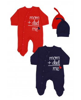 Mom + Dad + Me 2 Pack Jumpsuit Red