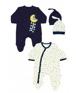 Star Printed 2 Pieces Overalls Navy