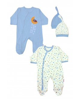 Star Printed 2 Pieces Overalls Blue