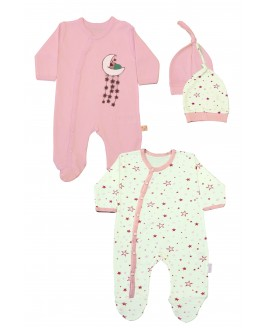 Star Printed 2 Pieces Overalls Pink