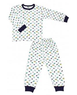 Little Dino Age Pajamas Set Navy Blue