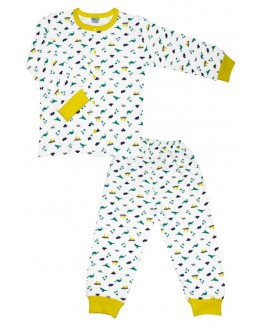 Little Dino Age Pajamas Set Yellow