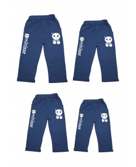Panda Printed 4 Pieces Trousers Navy Blue