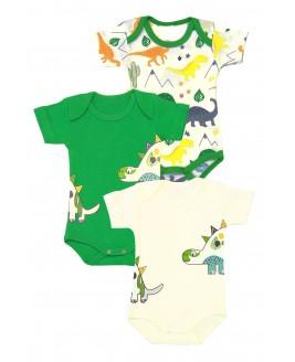 Big Dinosaur Printed 3-piece Short Arm Bodysuit Green