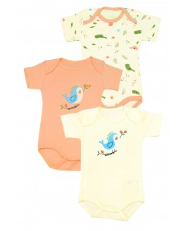 Bird Printed 3-Piece Short Arm Bodysuit Baby Salmon