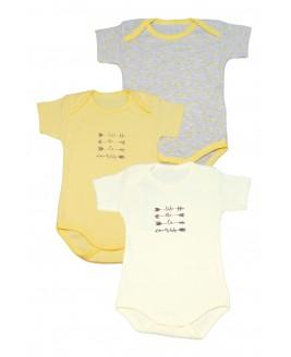 3-piece Short Arm bodysuit with arrow motifs Yellow