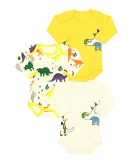 Big Dinosaur Printed 3-piece Bodysuit Long Sleeve Yellow