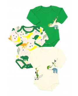 Big Dinosaur Printed 3-piece Bodysuit Long Sleeve Green
