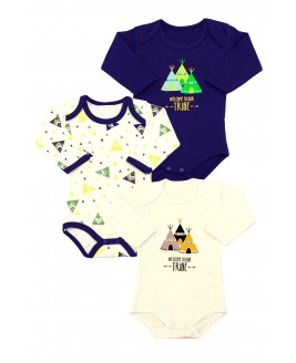 Tent patterned 3-pack Long Sleeve Baby Bodysuit navy