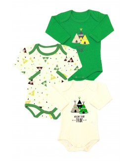 Tent patterned 3-pack Long Sleeve Baby Bodysuit Green
