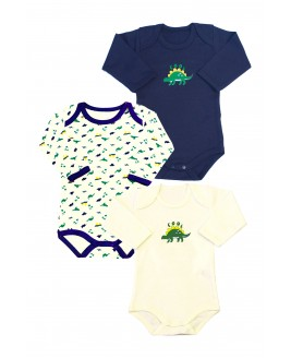 Dinosaur Printed 3-Pack Long Sleeved Baby Bodysuit Navy