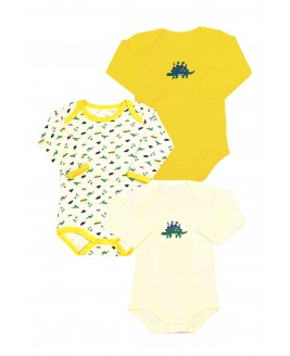 Dinosaur Printed 3-Pack Long Sleeved Baby Bodysuit Yellow
