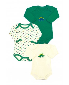 Dinosaur Printed 3-Pack Long Sleeved Baby Bodysuit Green