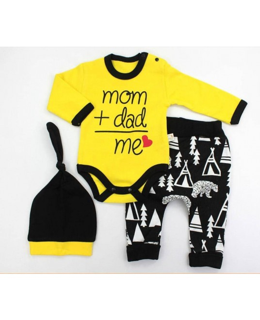 Mom Dad Me 3 Pieces Set Yellow